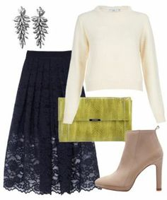 I have a similar lace skirt - never thought to wear it with a white fuzzy sweater and camel booties! #muststopwearingsomuchblack