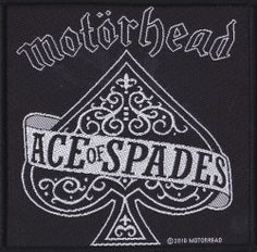 """MOTORHEAD ACE OF SPADES PATCH Fans of Motorhead will love this patch!. Featuring the classic """"Ace of Spades"""" logo, this 4 inch patch is the perfect size for your jacket, bag, or vest! $5.00 #motorhead #patch #metal #aceofspades"""