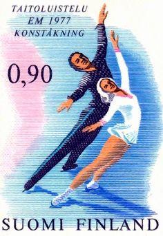 Finland - F 805 Sport - EM i Konståkning 1 kpl ** Figure Ice Skates, Figure Skating, Stamp World, Two Of A Kind, Envelope Art, Ice Skaters, Love Stamps, Vintage Stamps, Christmas Images