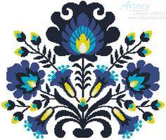 Polish Folk Art Blue - cross stitch pattern designed by Tereena Clarke. Category: Flowers.