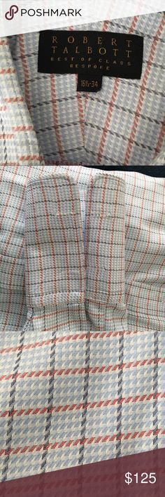 Robert Talbott Best of Class Bespoke Dress Shirt Dress shirts don't really get more top notch than this white, silver, red and sky window check bespoke number from Robert Talbott.  Medium spread collar, French Cuffs and the finest tailoring and cotton make this, and all of these meticulously crafted shirts, true works of art. Smoke free, pet free are we. Make an offer using the button and send this little piece of luxury home today! 16.5x 34 Robert Talbott Shirts Dress Shirts