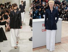 Tilda Swinton in a Chanel Resort 2014 lightly flared navy jacket accented with three 'CC' buttons which she styled with wide-legged white pants. Cannes Film Festival, 2013. #menswearinspired