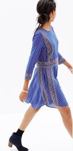 Madewell silk tee dress in ascot grid