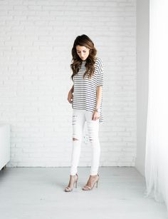 White Jeans + Long Striped Top