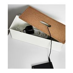 Ikea Kvissle cable management box: Key features - Charge your devices and hide the chargers and cords under the lid. - Hole for cables in the lid and on the short sides. - Raised base with vents to let heat escape. Home Office Organization, Organization Hacks, Organizing Ideas, Shopping Ikea, Box Ikea, Cable Management Box, Ideas Para Organizar, Cable Organizer, Ikea Hack