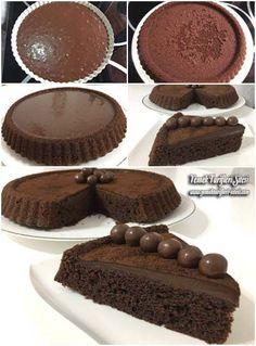 Çikolatalı Kek Tarifi Delicious Chocolate, Chocolate Desserts, Chocolate Cake, Pasta Cake, Cheesecake, Pudding Cake, Homemade Desserts, Turkish Recipes, Food Humor