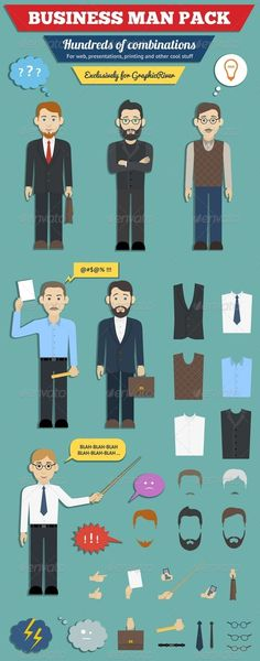 Business Man Characters Pack — Photoshop PSD #employee #planning • Available here → https://graphicriver.net/item/business-man-characters-pack/6008630?ref=pxcr