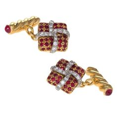 Verdura Late-20th Century Diamond, Ruby, Gold and Platinum Cuff Links | From a unique collection of vintage cufflinks at https://www.1stdibs.com/jewelry/cufflinks/cufflinks/