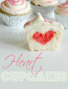 These heart-in-the-middle cupcakes are so cute and are easy to make! Perfect for Valentine's Day! Cupcake recipe