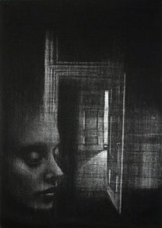 Cleo Wilkinson. Traverse II, 2005. Mezzotint. Edition of 10. 16-1/2 x 11-3/4 inches.