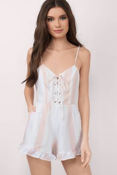 ec3f55e4bb0d We are obsessed with the Adeline Striped Lace Up Romper. Featuring a lace  up and