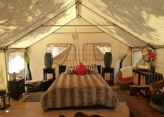 Glamour Tent Interior for Glamping at KOA Campgroup in Ventura County California (Jennifer Miner)