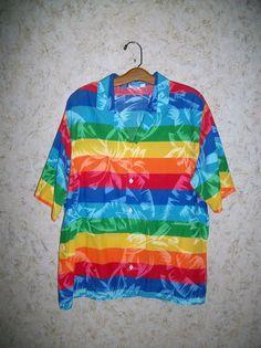 75d730c080 Vintage RAINBOW TROPICAL Hawaiian Shirt Hipster Vibrant Bold Striped Button  Down Beach Party Shirt 80s 90s