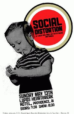 Original concert poster for Social Distortion at Lupo's in Providence, RI in 2011.  11 x 17 on card stock. Art by Mark Serlo.