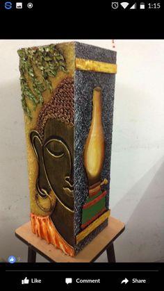 Buddha Painting, Buddha Art, Ceramic Painting, Fabric Painting, Bottle Painting, Bottle Art, Bottle Crafts, Vase Crafts, Clay Crafts