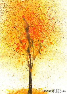 kokokoKIDS: Fall Art: blow wet paint with a straw for tree trunk/branches, and splatter paint with a toothbrush for leaves