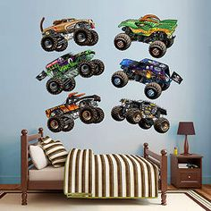 Cartoon Monster Jam Trucks Collection Fathead Wall Decal
