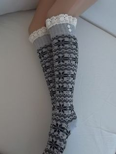SOCKS  Boot socks  machine knit lace trim by CarnavalBoutique, $18.00