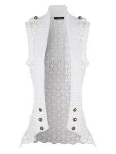 Crochet Button Sleeveless Cardigan on LoLoBu