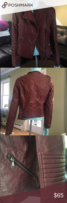 Maroon Leather Moto Jacket Super cute and super fun maroon moto leather jacket. Perfect for that outfit you have been looking for! Black Swan Jackets & Coats Utility Jackets