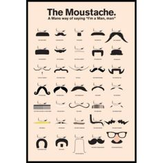 Buy The Moustache Wall Poster online and save! The Moustache Wall Poster Moustaches poster featuring a selection of great mustache styles to have graced faces over the years. The Moustache, A Man'. Moustaches, Barber Poster, Mustache Styles, Corte Y Color, Funny Posters, Wig Making, Beard No Mustache, Men's Grooming, Mustache Grooming