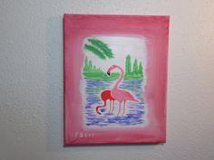 Pink Flamingo Birds Beach Home Art Palm by StillwatersPaintings