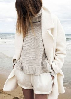 Coat: all beige everything beige beige sweater beige sweater turtleneck turtleneck sweater shorts