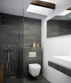 Badezimmer Schiefergrau Anthrazit Fliesen Begehbare Dusche ... Fliesen Anthrazit Badezimmer