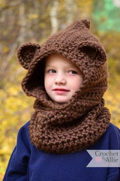 Crochet Hat Crochet Girl Chunky Hooded Children Wolf Cowl Hat- 16 Easy Crochet Hats For Kid's Easy Crochet Hat Patterns, Crochet Kids Hats, Crochet For Boys, Crochet Scarves, Crochet Baby, Knitted Hats, Knitting Patterns, Crochet Hooded Cowl, Crochet Hoodie