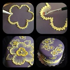 WOW...this is SO pretty! Brush embroidery cake with yellow flowers