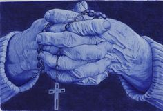 Prayer hands, Ballpointpen Drawing by Angeliqueperrin