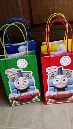 Thomas The Train Party Favor Bags. 12 pieces by JennexPartySupply on Etsy https://www.etsy.com/listing/189972806/thomas-the-train-party-favor-bags-12