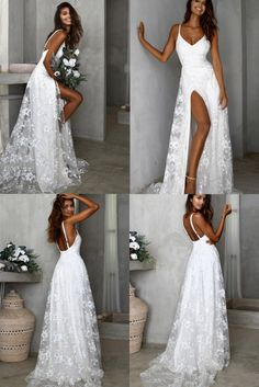 Uguest Lace V-neck Spaghetti Strap Backless Floor-length Party Vacation Long Side Slit Dresses Slip Wedding Dress, Wedding Dresses With Flowers, V Neck Wedding Dress, Top Wedding Dresses, Wedding Gowns, Bridesmaid Dresses, Prom Dresses, Simple Long White Dress, Long Dress With Slit