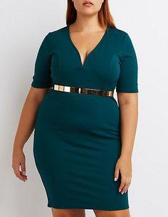Plus Size Notched Bodycon Dress