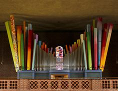 The colourful pipe organ of St Elisabeth in Augsburg, Germany, was built by Schmid Organ builders in 2008 and has 3 manuals.