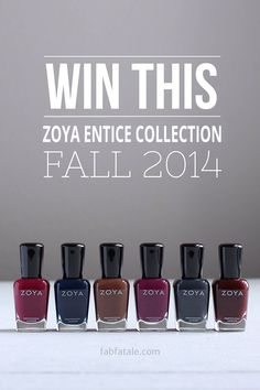 i'm giving away the newly released Zoya Entice Fall 2014 collection at http://www.fabfatale.com/2014/09/zoya-entice-collection-swatches/ #zoya #nailpolish #zoyaentice #giveaway
