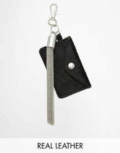 ASOS Leather Keyring With Chain Tassel & Card Holder