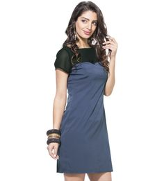Black And Indigo Shift Dress https://play.google.com/store/apps/details?id=com.womensdeals.womensdeals Step out for the party evenings in this classy and uptown shift dress. Style the dress with black stilettos and white stone jewellery with and studded clutch The shift dress has sheer black yoke It has round neckline and short sleeves The dress has darts at the waist for a flattering hour glass fit It features side concealed zipper