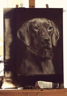 The Dog oil painting portrait with dry brush technicue