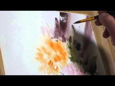 flowers in watercolor painting with M. Watercolor Video, Watercolor Images, Watercolour Tutorials, Watercolor Techniques, Watercolor Landscape, Watercolour Painting, Watercolor Flowers, Painting Tutorials, Watercolours