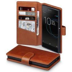 Sony Xperia XA1 Genuine Leather Wallet - Cognac