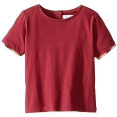 Burberry Short Sleeve Tee w/ Turn Back Cuff Women's T Shirt ($55) ❤ liked on Polyvore featuring tops, t-shirts, red, cotton t shirt, cotton tee, red t shirt, red plaid top and red top