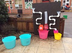 Water Wall, our children have had a great time investigating the new water wall. Enhanced by adding coloured water to see what happens when the two colours mix at the bottom etc. also good for introducing measure, old measuring jugs, different containers etc.