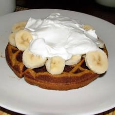 Gingerbread Waffles Allrecipes.com. These were worth the extra effort.  Would excellent as desert waffles with a spiced pear compote.