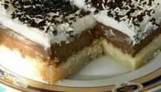 Ekmek Kadaifi with Chocolate Custard - but would like it better if the kadaifi on bottom base is not so packed together and have it more like a traditional kadaifi dessert - Where Home Starts Greek Sweets, Greek Desserts, Summer Desserts, Greek Recipes, Healthy Desserts, Meals Without Meat, Rhubarb Desserts, Chocolate Custard, Fast Food