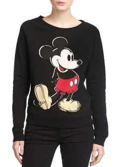 Black Cartoon Print Long Sleeve Sweatshirt