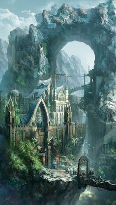 Epic fantasy art dump! - Imgur Fantasy City, Fantasy Castle, Fantasy Kunst, Fantasy Places, Fantasy World, High Fantasy, Medieval Fantasy, Final Fantasy, Elves Fantasy