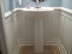 Half Bath Redo with Moulding, We were inspired to transform this 1/2 bath with a board and batten design.  How does it look?, Bathrooms Design