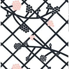 Made of a cotton-linen blend, this fabric features the new lattice and plant Hortensie (Hydrangea) print designed by Carina Seth Andersson. It's a large-scale print in black and pink. Please order carefully. Cut fabric cannot be returned. Linen Fabric, Cotton Linen, Cotton Fabric, Fabric Patterns, Print Patterns, Marimekko Fabric, I Believe In Pink, Nordic Design, Fabric Online