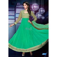 Green Georgette #Anarkali Churidar With Dupatta #Salwarkameez